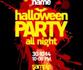 Halloween All night Party Poster blur blood vector