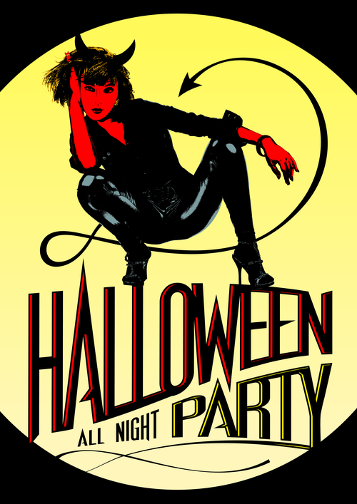 Halloween Party Devil Girl Posters yellow moon vector