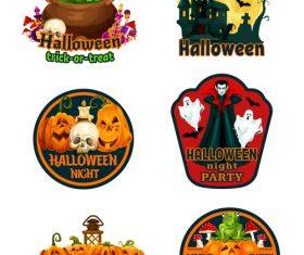 Halloween labels design vector material 01