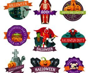 Halloween labels design vector material 02