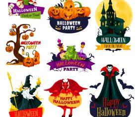 Halloween labels design vector material 03