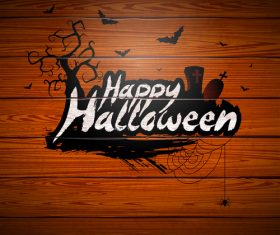 Halloween logo with wooden background vector