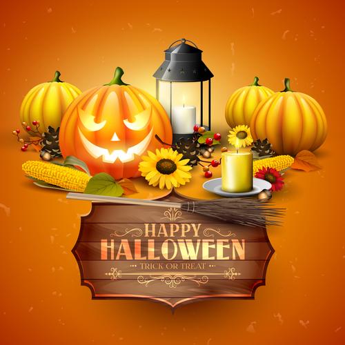 Halloween orange design with wooden sign vector