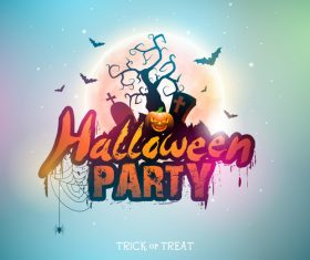 Halloween parth poster blue template vector