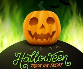 Halloween pumpkin with green fire background vector