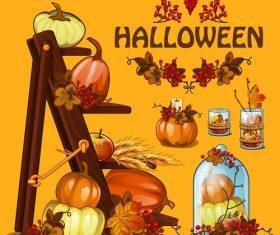 Halloween retro illustration vector material
