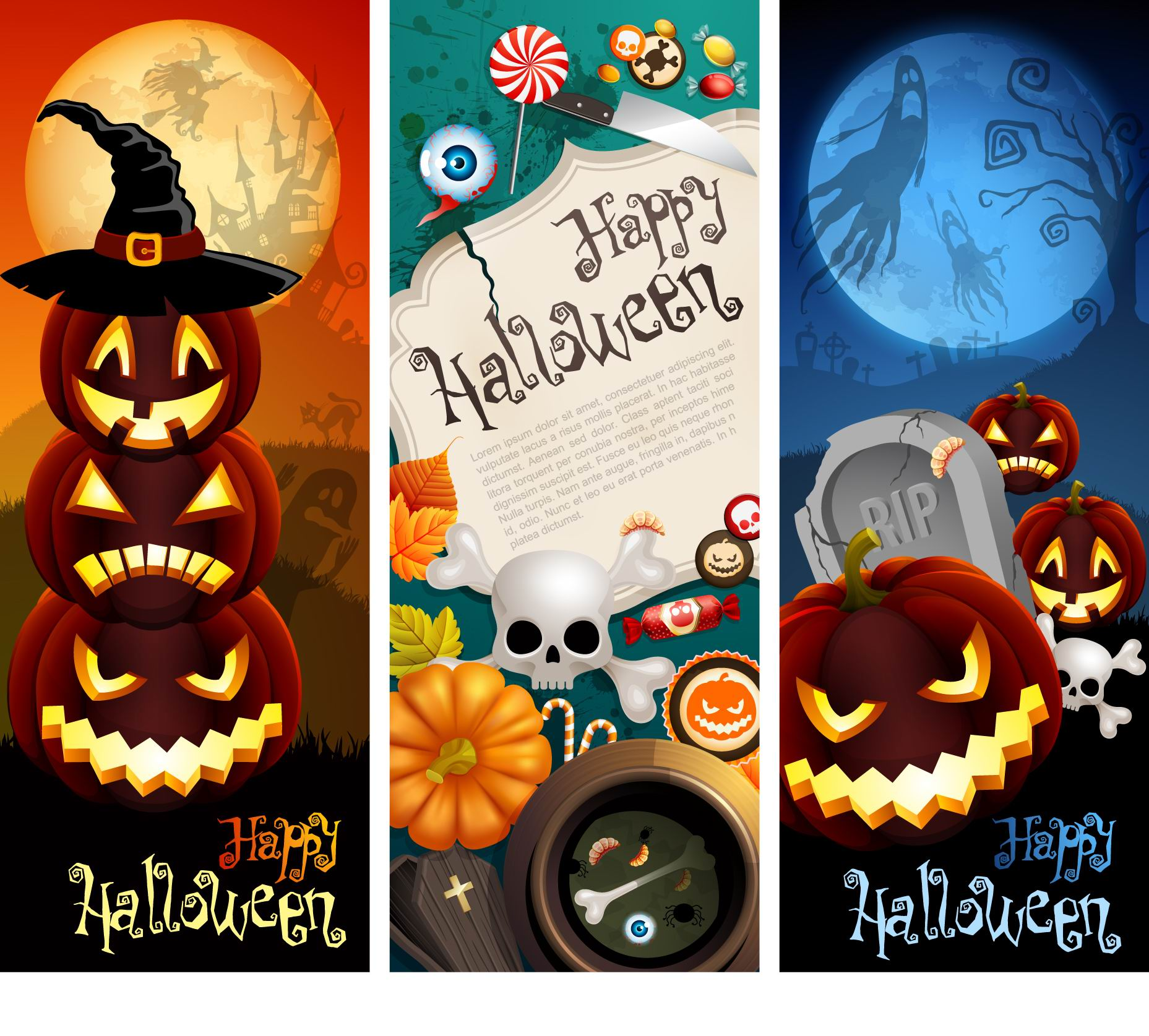 Halloween theme design vector material