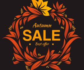 Hand drawing autumn floral label with dark backgorund vector