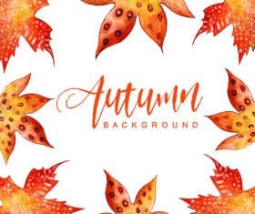 Hand drawn red leaves with autumn background vector
