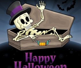 Happy Halloween sign with skeleton vector