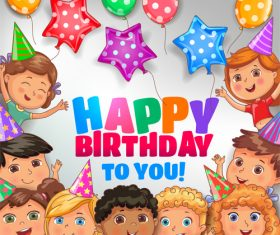 Happy birthday to you bright design with cute children vector