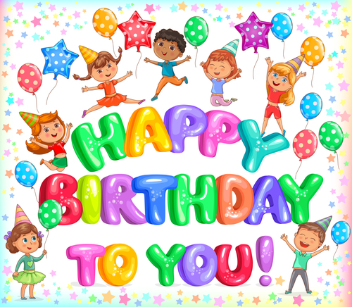 Happy Birthday To You Colorful Letteers And Cute Kids