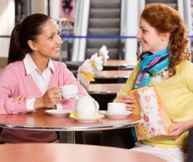Happy chatting girlfriends Stock Photo 02
