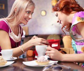 Happy chatting girlfriends Stock Photo 03