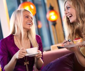 Happy chatting girlfriends Stock Photo 04