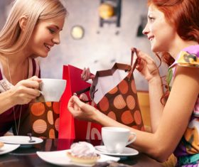 Happy chatting girlfriends Stock Photo 05