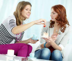 Happy chatting girlfriends Stock Photo 06
