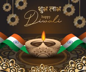 Happy diwali greeting card and poster vector 06