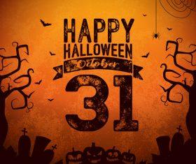 Happy halloween party retro background vector