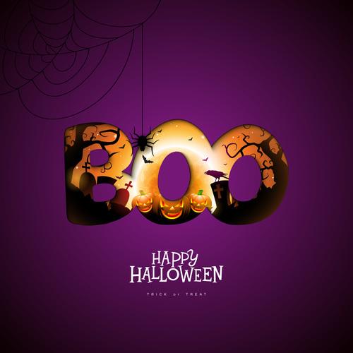 Happy halloween purple background vector