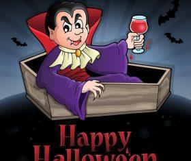 Happy halloween sign with vampire vector