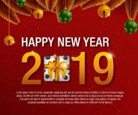Happy new year 2019 with christmas red background vector