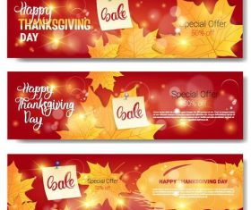 Happy thanksgiving sale banners vector