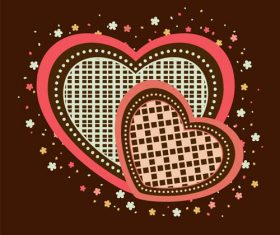 Heart shaped floral pattern vector 02