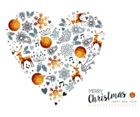 Heart-shaped golden Christmas vector material