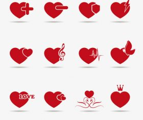 Heart shaped label design vector material