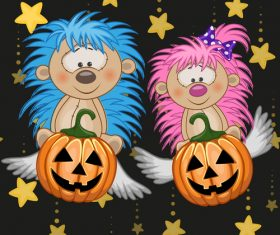 Hedgehog with halloween card vector