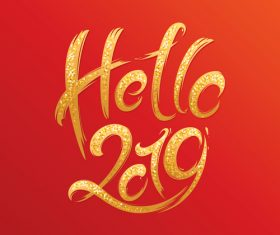 Hello 2019 new year red background vectors