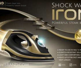 Hotwave iron poster vector template 04
