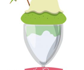 Ice cream vintage illustration vector 02