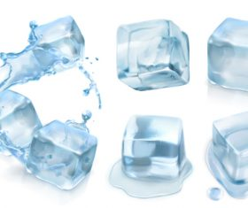 Ice cube vector set