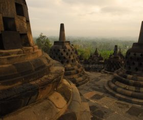 Indonesian Java Island Buddhist Architecture Landscape Stock Photo 01
