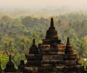 Indonesian Java Island Buddhist Architecture Landscape Stock Photo 04
