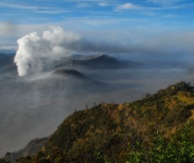 Indonesian Java Island Volcano Stock Photo 01