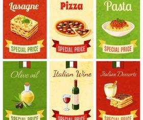 Italian food vintage template vector