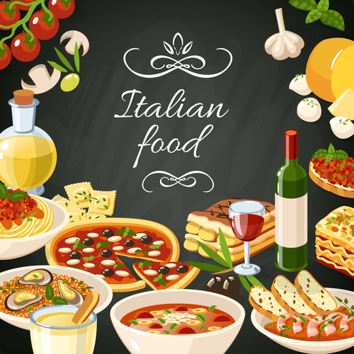Italian food with blackboard background vector