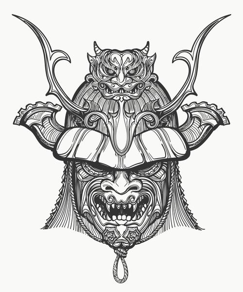Japan Samurai Mask hand drawn vector free download