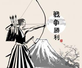 Japanese samurai bow hand drawing vector
