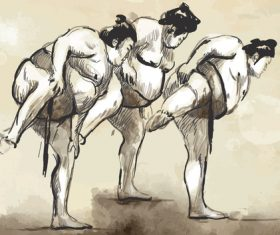 Japanese sumo hand drawing vector 01