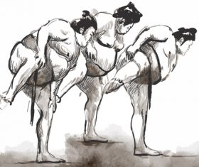 Japanese sumo hand drawing vector 02