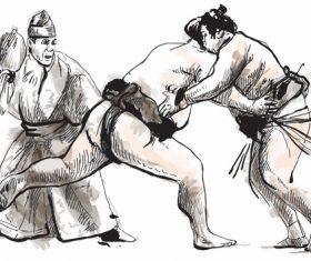 Japanese sumo hand drawing vector 03