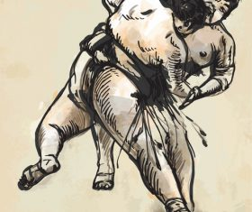 Japanese sumo hand drawing vector 05