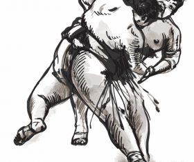 Japanese sumo hand drawing vector 07
