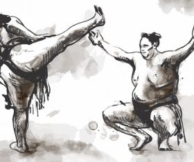 Japanese sumo hand drawing vector 09