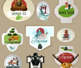 Japanese tea labels vector material