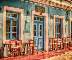 Karpathos Island Restaurants Stock Photo